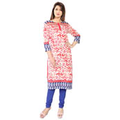 White and Pink 3/4 Sleeve Rajasthani Print Rayon Kurti-3120
