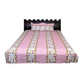 White and Pink Checks Print Cotton Double Bed Sheet-0D19