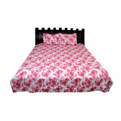 White and Pink Floral Rajasthani Cotton Double Bed Sheet-0D22