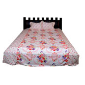 White and Pink  Print Cotton Double Bed Sheet -0KG16