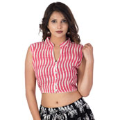 White and Pink Sleeveless Cotton Ikat Blouse-30213