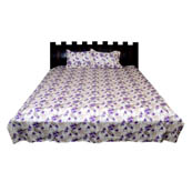 White and Purple Floral Double Bed Sheet-0D9