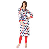 White and Red 3/4 Sleeve Tassel Style Rayon kurti-3092