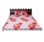 White and Red Floral Printed Cotton Double King Size Bed Sheet-0G23