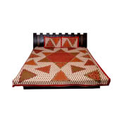 White and Red Print Cotton Double Bed Sheet -0T23