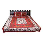 White and Red Print Cotton Double Bed Sheet -0T6