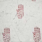 White and Red Swasthik Handprint Indian Cotton Fabric by the yard