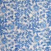 White and Sky Blue Flower Pattern Block Print Fabric by the yard