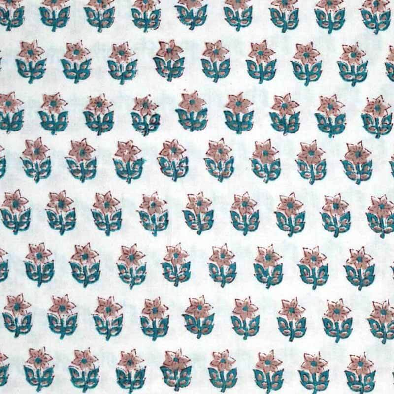 White and Turquoise Green Flower Block Printed Cotton Fabric
