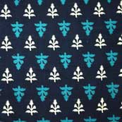 White and Turquoise Sanganeri Print Cotton Fabric by the Yard