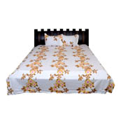 White and Yellow Floral Rajasthani Cotton Double Bed Sheet-0D26