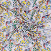 White and Yellow Flower Silk Crepe Fabric-18131