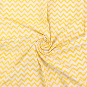 White and Yellow Zig Zag Design Cotton Shibori Tie Dye Fabric-14415