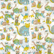 White and cyan cat kids block print fabric-4558