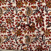 White-orange and red flower Kalamkari fabric-4565