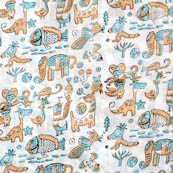 White toys block print fabric-4557