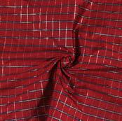 Wine Bue Checks Taffeta Silk Fabric-9456