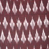 Wine Color and White Ikat Fabric