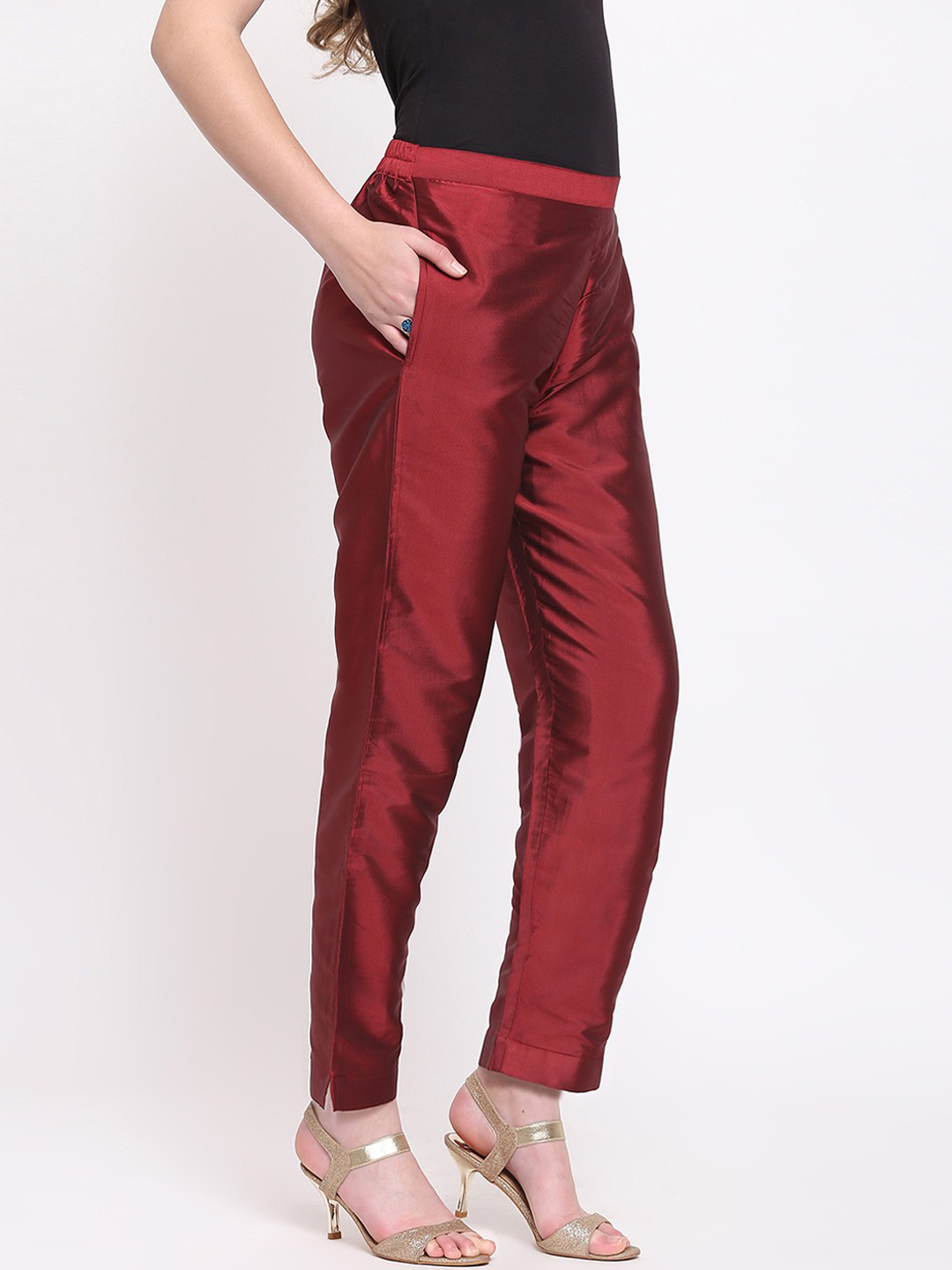 Wine Cotton Silk Ankle Pant-34279
