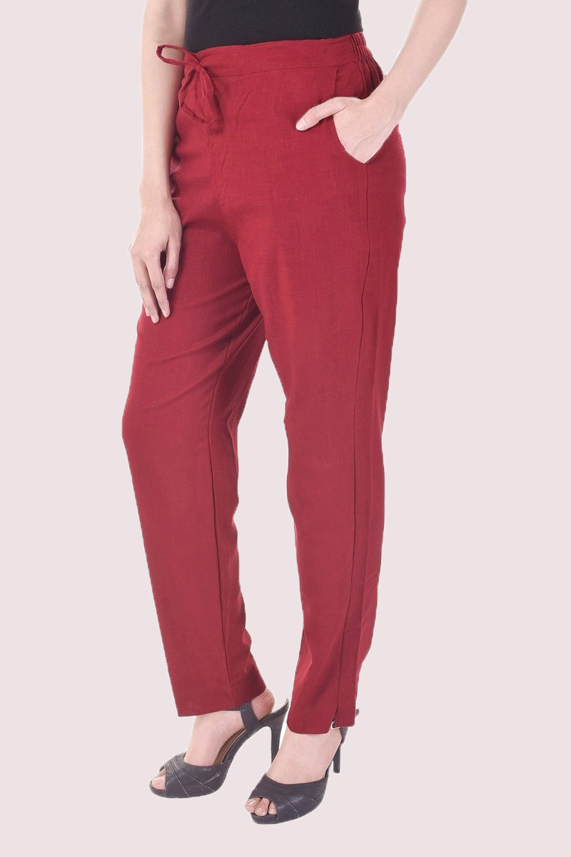 Wine Cotton Slub Solid Women Pant-33293