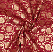 Wine Golden Floral Brocade Silk Fabric-9371