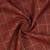 Wine Gray Check Handloom Cotton Fabric-40884