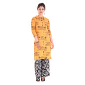 Yellow 3/4 Sleeve Mantra Printed Solid Cotton Kurti-3025