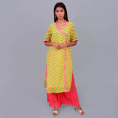 Yellow And Green Leharia Georggette Kurti With Inner-22042