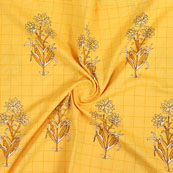Yellow Beige Block Print Cotton Fabric-14819