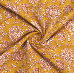 Yellow Beige Block Print Cotton Fabric-16066