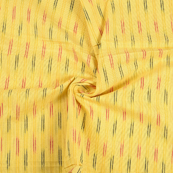 Yellow-Black and Red Lining Design Cotton Ikat Fabric-12088