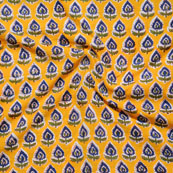 Yellow Blue Block Print Cotton Fabric-14644