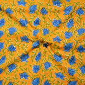 Yellow Blue Block Print Cotton Fabric-14645