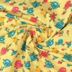 Yellow Blue Block Print Cotton Fabric-16090