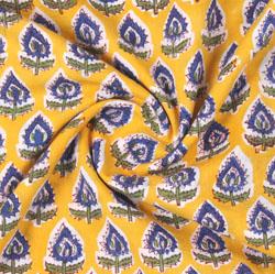 Yellow Blue Block Print Cotton Fabric-16191
