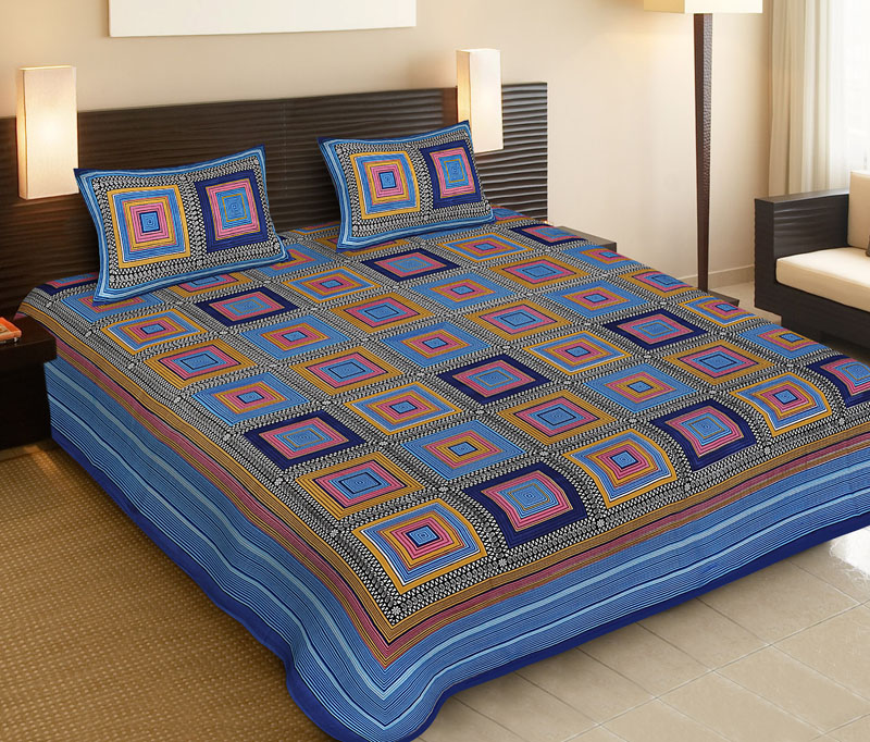 Yellow Blue Cotton Jaipuri Bedsheet-510