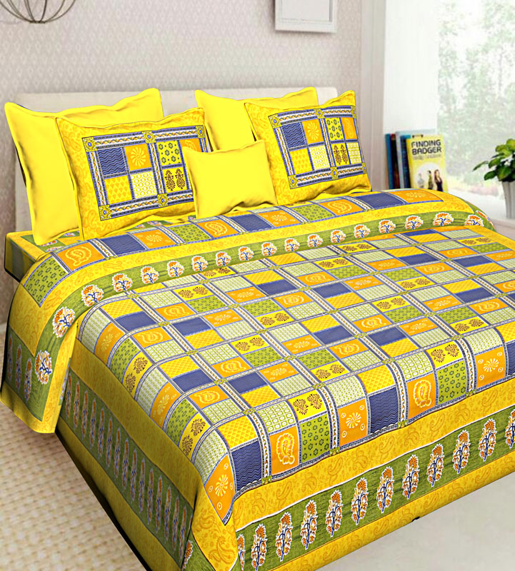 Yellow Blue Cotton Jaipuri Bedsheet-568