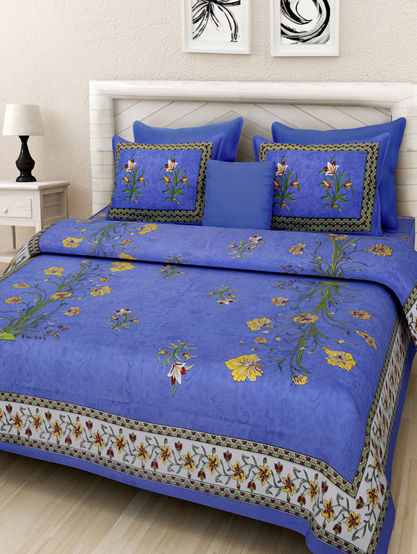 Yellow Blue Cotton Jaipuri Bedsheet-663