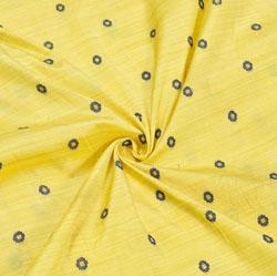 Yellow Blue Polka Zari Taffeta Silk Fabric-12314