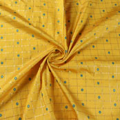 Yellow Blue Zari Dot Silk Fabric-9464