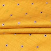 Yellow Blue and Golden Zari Dot Brocade Silk Fabric-9259