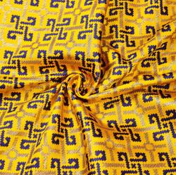 Yellow Blue and Golden Zig-Zag Brocade Silk Fabric-12463