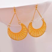 Yellow Brass with Yellow Pearls Drop Earring for Women