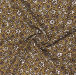 Yellow Brown Ajrakh Cotton Fabric-16067
