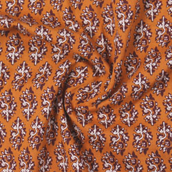 Yellow Brown Block Print Cotton Fabric-16171