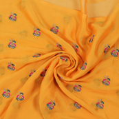 Yellow Chiffon Fabric With Pink and Golden Flower Embroidery-60805
