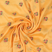 Yellow Chiffon Fabric With Pink and Golden Flower Embroidery-60804