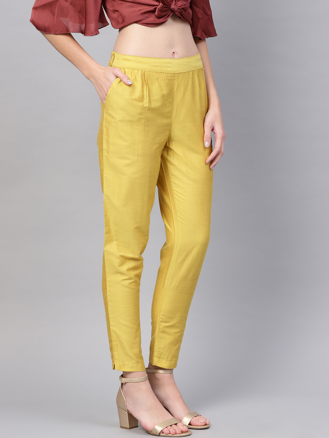 Yellow Cotton Silk Ankle Pant-34268