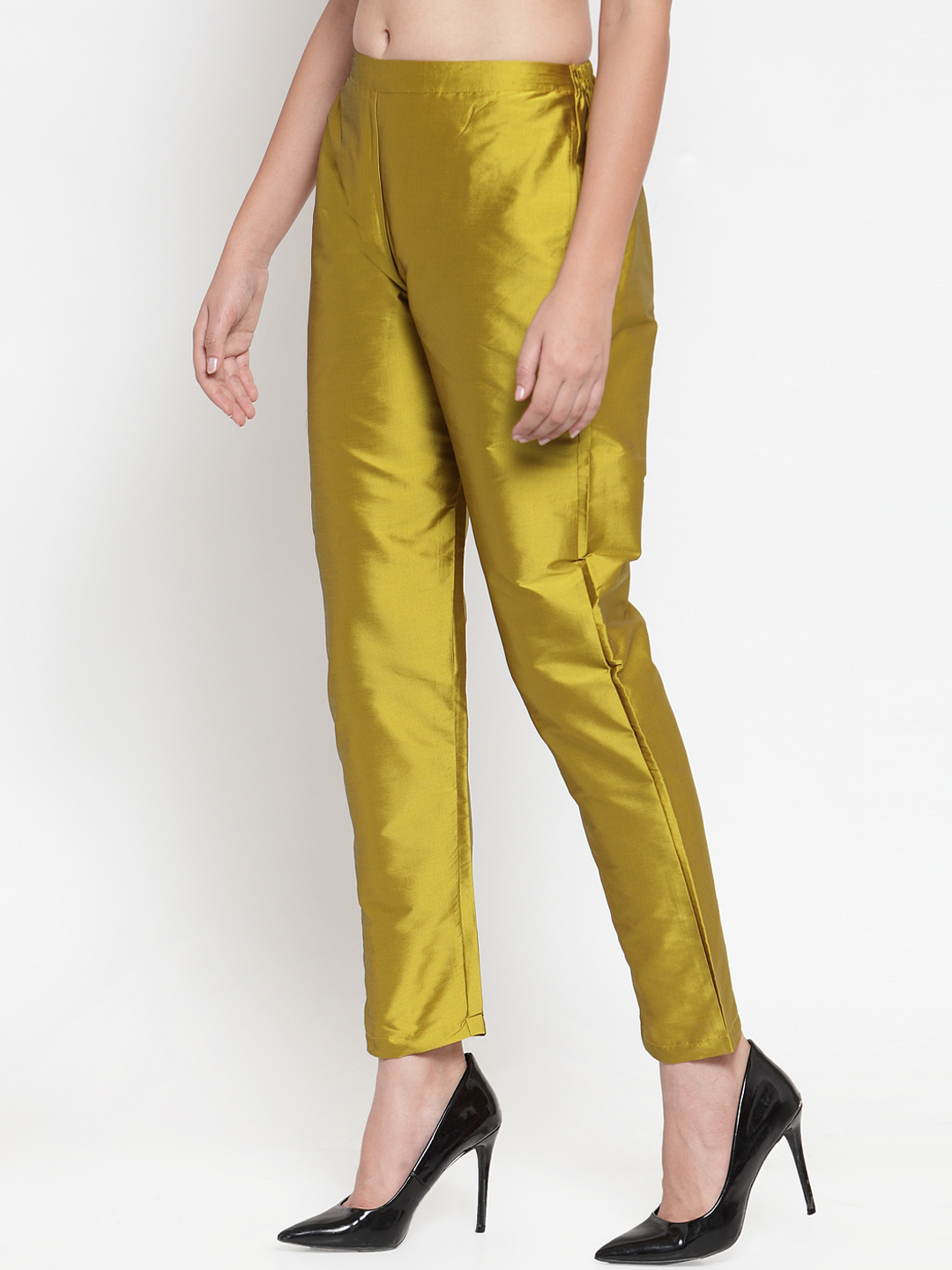 Yellow Cotton Silk Ankle Pant-34278