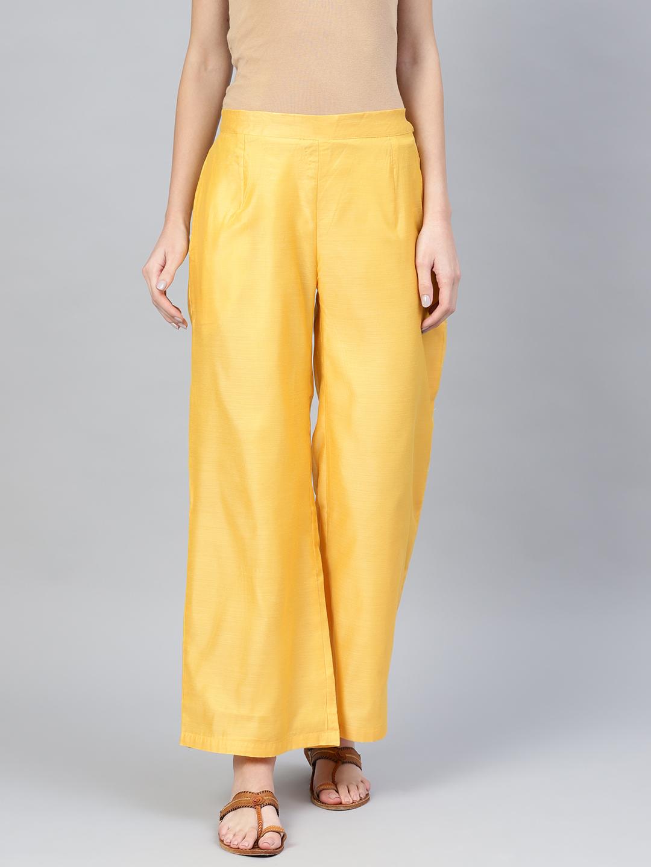 Yellow Cotton Silk Palazzo Pant-34258